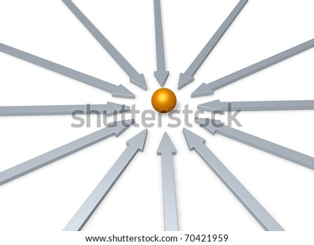arrows and golden ball in the middle - 3d illustration - stock photo
