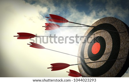 Arrows are not targeted, Failure to attack the target. unsuccessful. Сток-фото ©