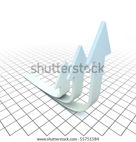 Arrows are symbols of evolution. Arrows are looking up.  Three-dimensional,  isolated on white.