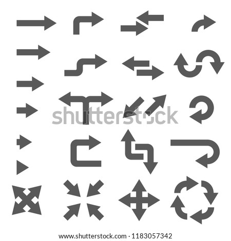 Arrows. Black flat signs. Illustration isolated on white background. Raster version
