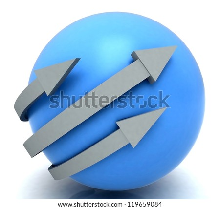 Arrows Blue Sphere Showing 3 Dimensional Direction