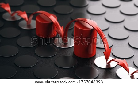 Arrows bouncing over red obstacles. Black background. Concept of overcoming barriers and resilience. 3D illustration. Stockfoto ©