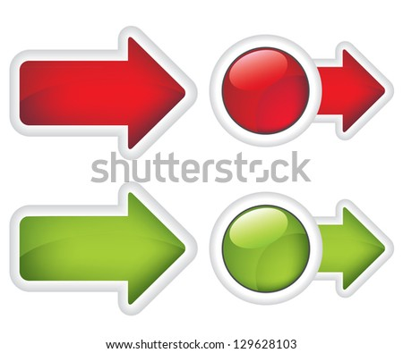 Arrows buttons red and green sign