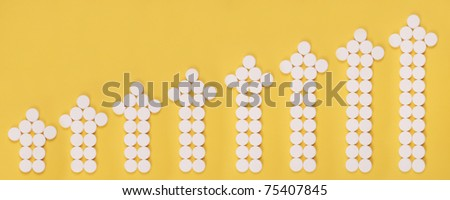 Arrows combined from tablets. Arrows as the schedule. On yellow background.