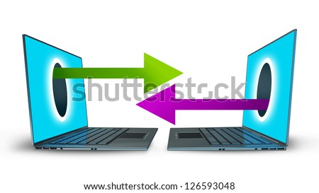 arrows comes right out of the laptops screen CONCEPT. isolated on white background High resolution 3d