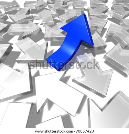 Arrows confusion A group of white arrows pointing to all directions and one blue arrow pointing upwards. 3d