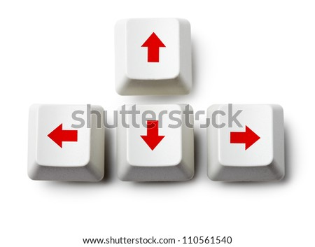 Arrows cursor control buttons of keyboard on white background - logo