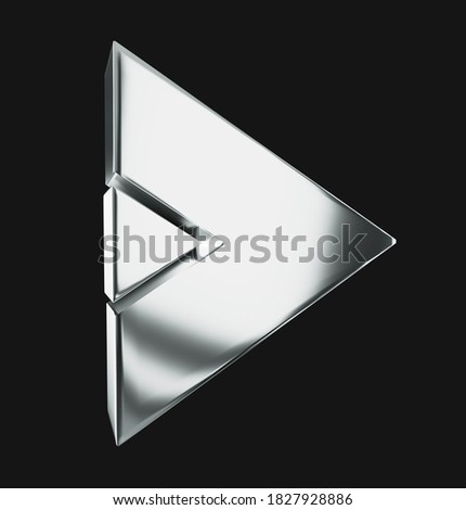 Arrows. 3D rendering shiny 3d chrome icons. isolated on black background Foto d'archivio ©