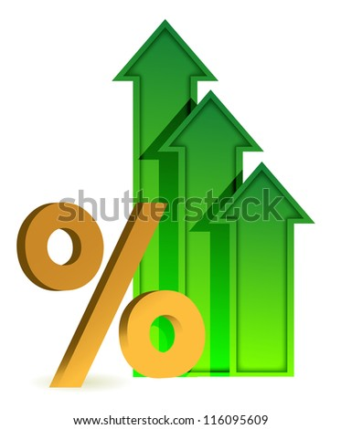 arrows going up and percentage symbol illustration design
