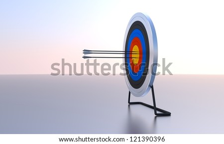 Arrows hitting archery target computer generated image. Sunset background.