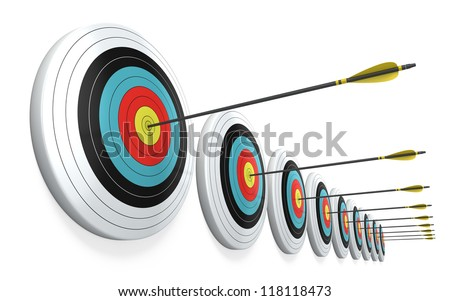 Arrows hitting the center of targets - success business concept