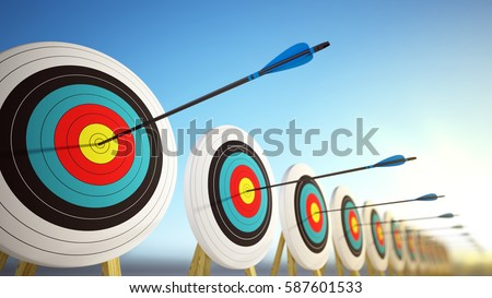 Arrows hitting the centers of targets - success business concept. 3d render.