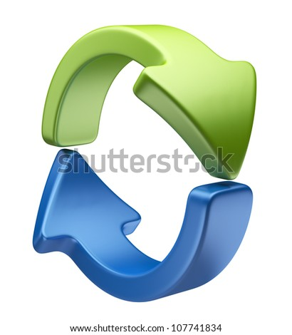 Arrows icon 3D. Recycle symbol isolated on white