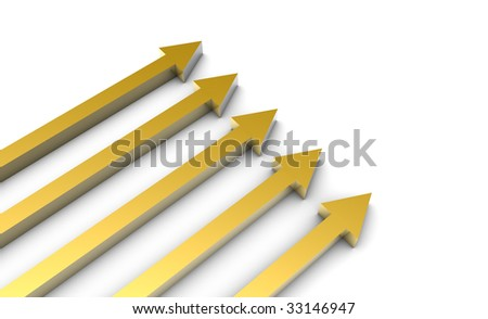 Arrows in 3D Gold Art on White Background