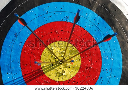 Arrows in the center of a target