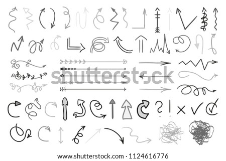 Arrows. Infographic elements on white background. Black symbols for design. Hand drawn simple signs. Line art. Set of different doodles for work #1124616776