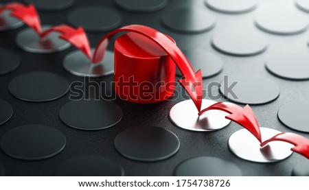 Arrows jumping over a red obstacle, black background. Concept of overcoming barriers and moving forward despite difficulties. 3D illustration. Foto d'archivio ©