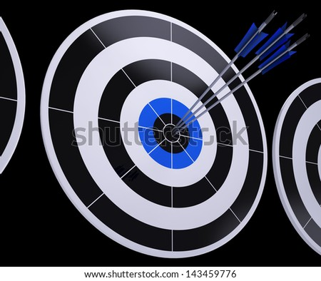 Arrows On Dartboard Shows Successful Hitting And Targeting
