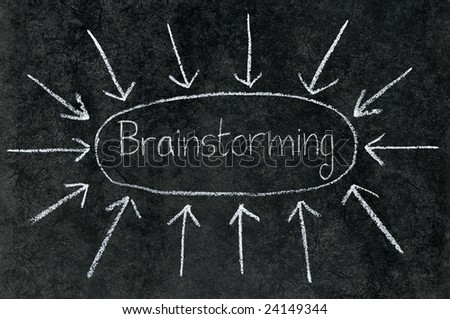 Arrows pointing at Brainstorming circled on a blackboard. - stock photo
