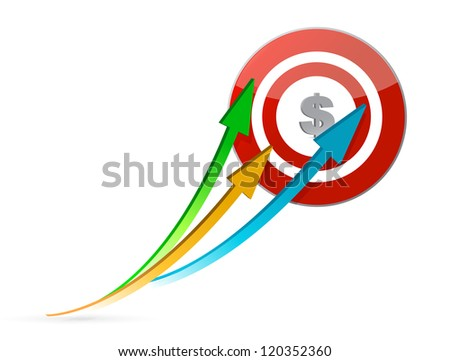 arrows pointing target illustration design over white