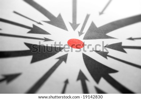 Arrows pointing to one red point. Perspective view.