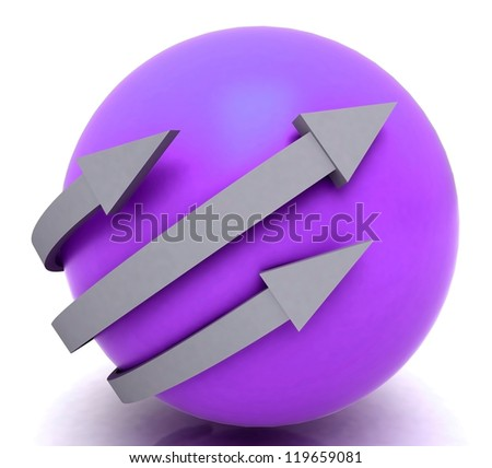 Arrows Purple Sphere Showing 3 Dimensional Direction