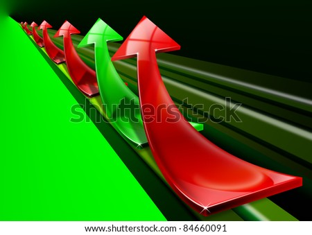 Arrows red and green curved upwards, the concept of economic success and business