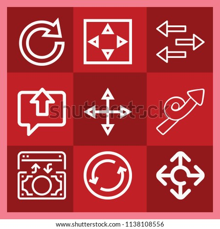 Arrows related set of 9 icons such as exchange, move, redo, transfer, money, loop, dialogue