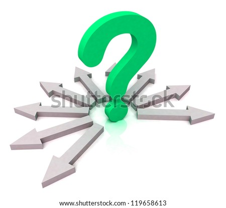Arrows Surrounding Green Question Mark Showing Choice Decisions Problem Brainstorming