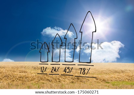 Arrows with percentages doodle against sunny brown landscape
