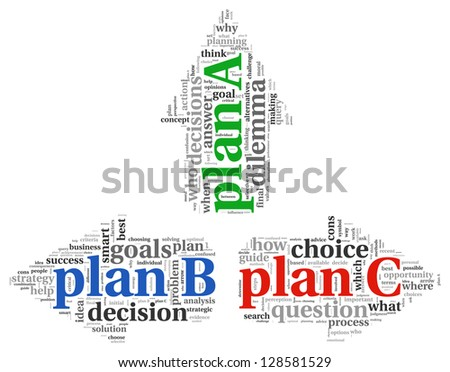 Arrows with plan A plan B and plan C word tag clouds, difficult choice concept