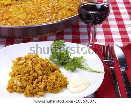 Arroz a Banda. Traditional Valencian Dish.  The �Arroz A Banda� is a kind of seafood paella cooked  with seafood  stock.