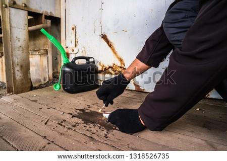 arson attack crime scene with gangster Stock photo ©