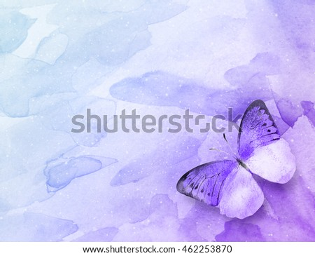 Art abstract background with butterfly. Watercolor
