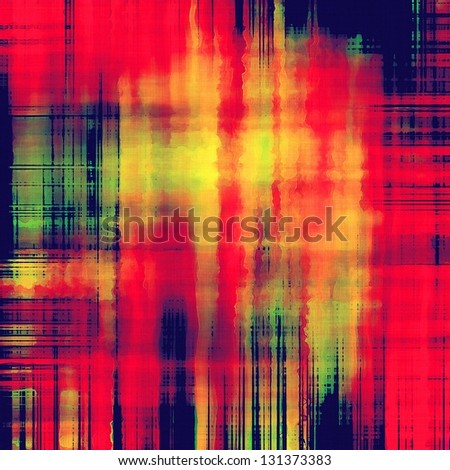 art abstract geometric pattern, watercolor background in bright coral red, gold, blue black and green colors