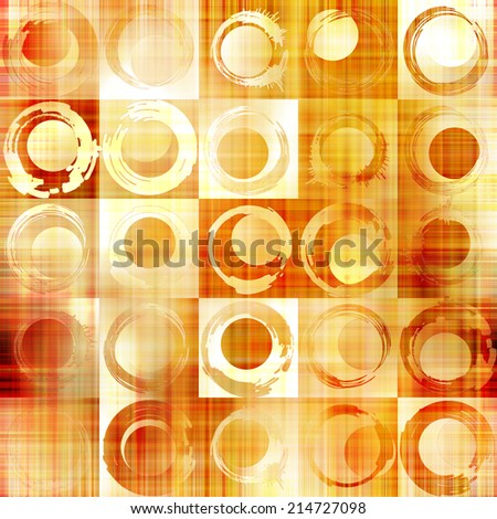art abstract geometric textured colorful background with circles in gold, orange, white  and red colors