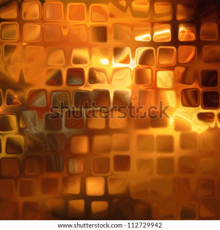 art abstract golden flames geometric pattern, background with shiny tiles
