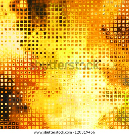 art abstract golden grunge background with orange, red, yellow and brown blots; halftone pattern
