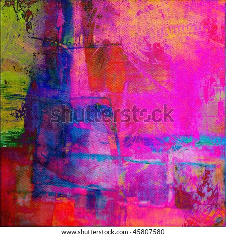 art abstract graphic grunge background in bright fuchsia, magenta, pink, red, yellow, green and blue colors
