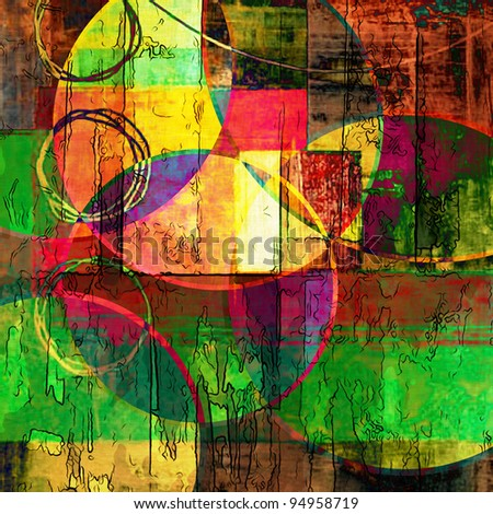 art abstract graphic, vibrant rainbow background with geometric shapes