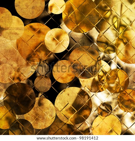art abstract grunge blurred monochrome background with geometric pattern of circles and grid in gold, brown and black colors