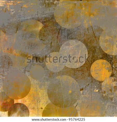 art abstract grunge geometric textured golden and grey background with circles