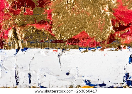 art abstract grunge golden background. Fragment of an original painting. Oil on canvas