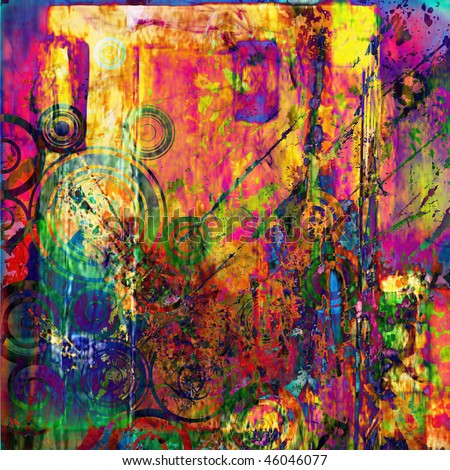 art abstract grunge graphic background in bright rainbow colors