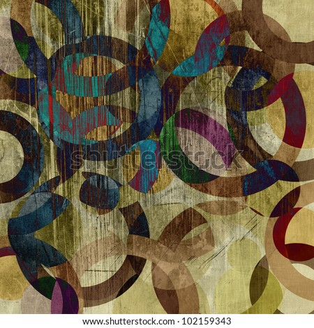 art abstract grunge paper  textured background with geometric ornament