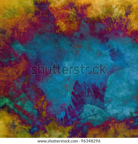art abstract grunge textured vibrant background with blue, gold yellow, orange, violet and purple blots
