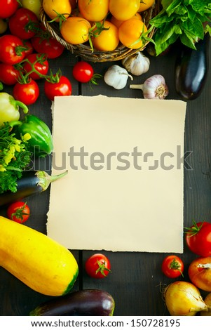 Art abstract market background vegetables on a wooden background