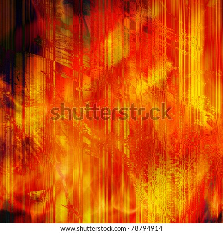 art abstract red and golden lines background with black blots