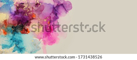 Art Abstract  watercolor and acrylic flow blot painting. Color long horizontal canvas texture background. Photo stock ©