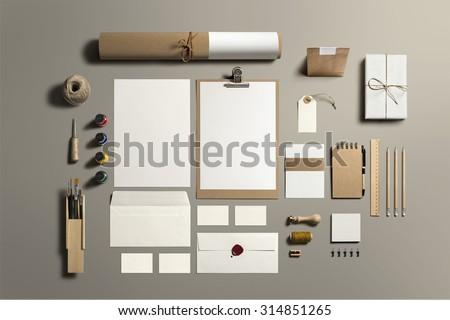 Art and Craft Stationery, Branding Mock-up, with clipping path, isolated, changeable background.